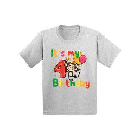 Awkward Styles Monkey Birthday Toddler Shirt Monkey Birthday Party 4th Birthday Party It's My 4th Birthday Shirt I'm Four Shirt Birthday Boy Tshirt Monkey Birthday Girl Shirt Gifts for 4 Year Old (Gifts For 4 Year Olds)