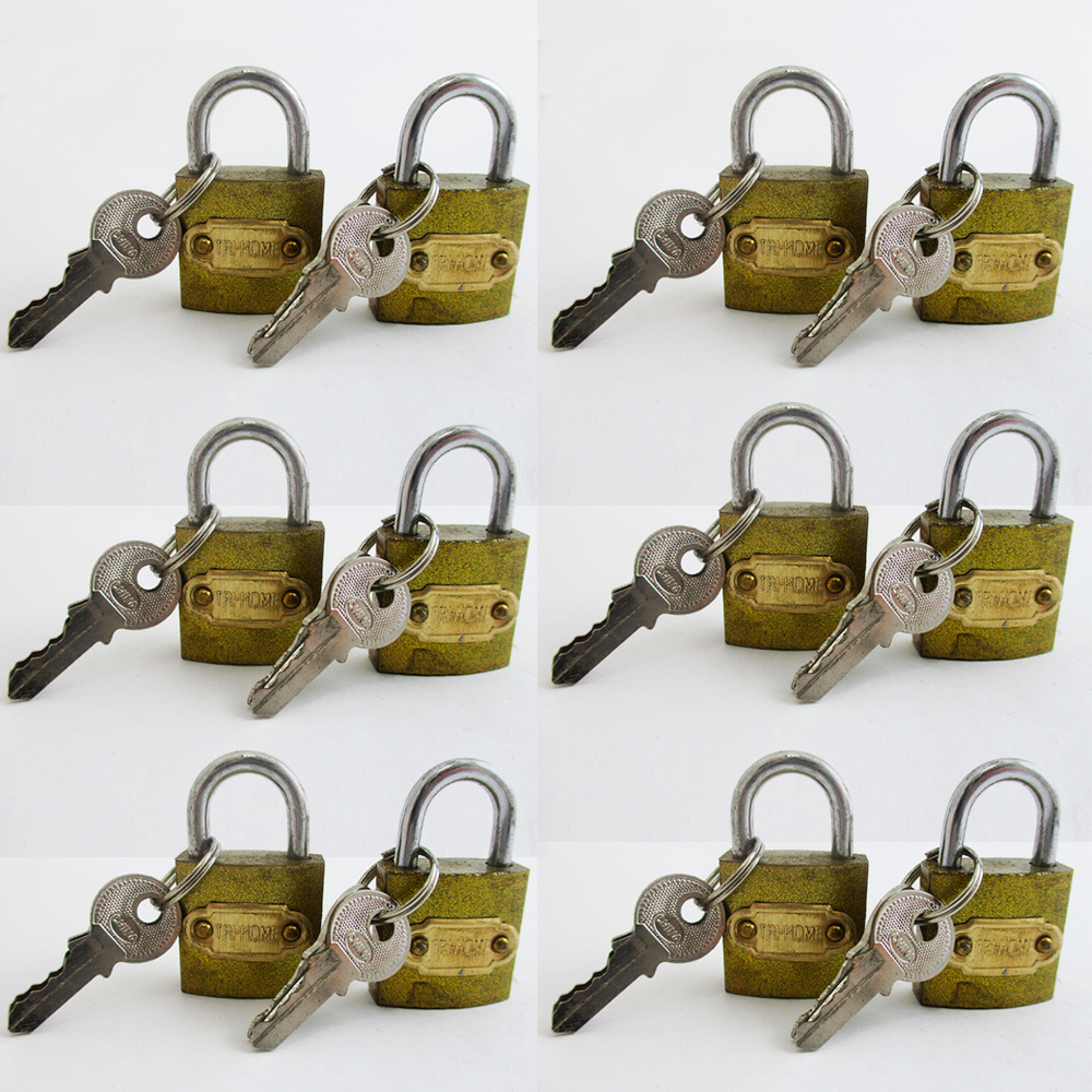 "12 Small Metal Padlocks Locks Keys Heavy Duty 1"" Brass Box Keyed Jewelry 25mm"
