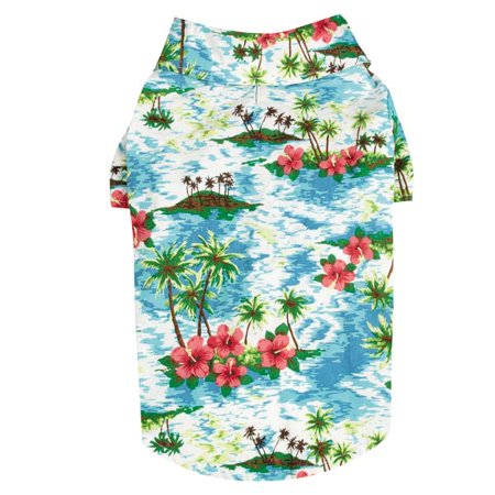 Hawaiian Breeze Shirts for Dogs Aloha Dog Camp Shirt with Paradise Palm Design (Paradise Camp Shirt)