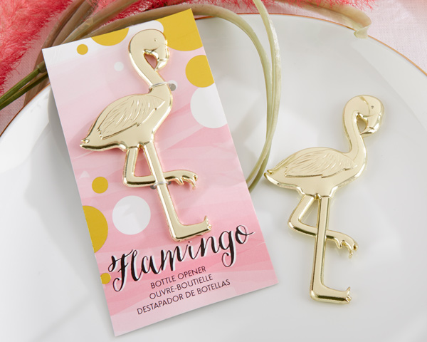 """""""Fancy and Feathered"""" Flamingo Bottle Openers Set of 12 by Kate Aspen"""