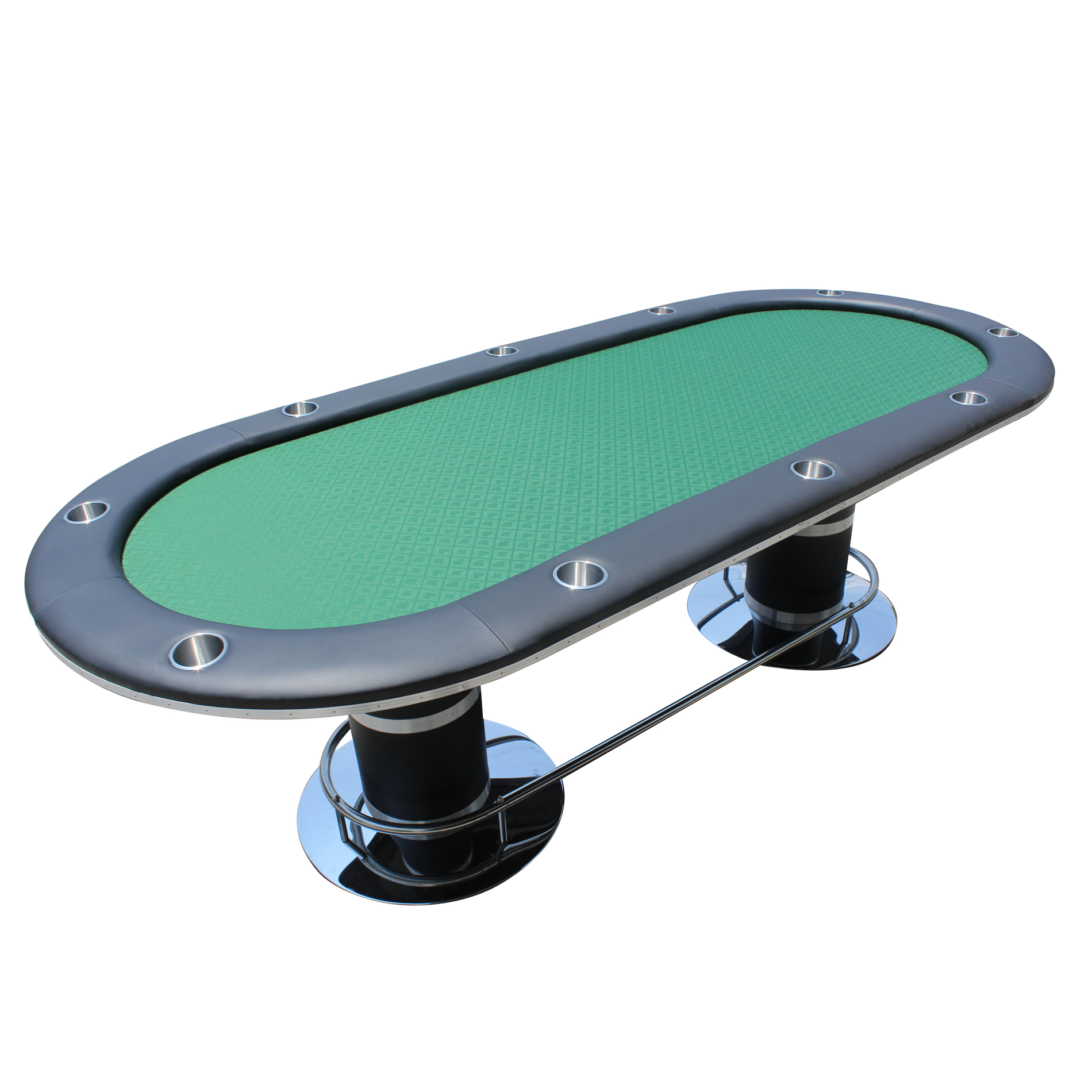 IDS POKER Poker Table For 10 Players Oval 96 X 43 Inch Cup Holders Green  High