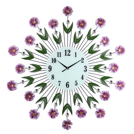 """Large Round Metal Wall Clock Purple Flowers & Green Leaves Bejeweled w/Citrine & Clear Gems 27"""""""