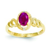 Polished 10K Yellow Gold Genuine Ruby 0.02Ct Diamond Ring Open Back Size 7