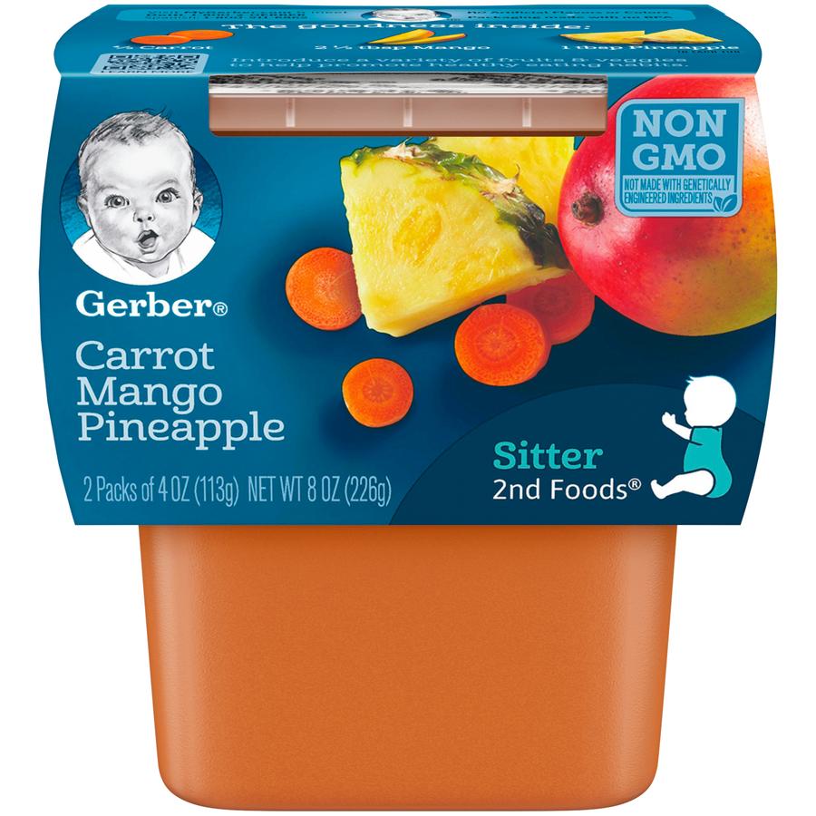 (8 Pack) Gerber 2nd Foods Carrot Mango Pineapple Baby Food, 4 oz. Tubs