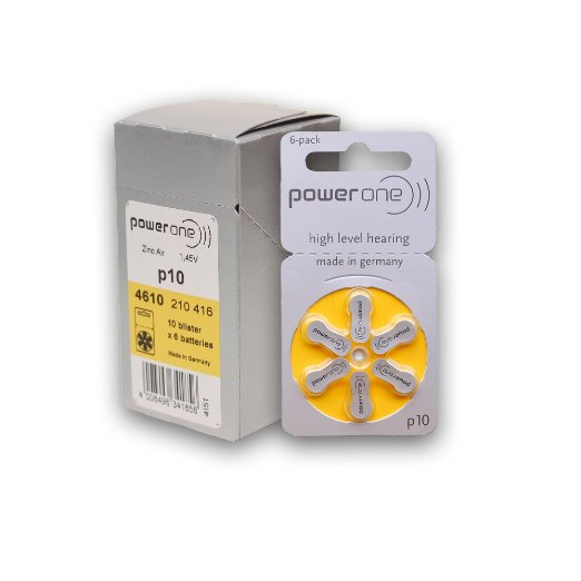 60 Powerone Hearing Aid Batteries Size: 10