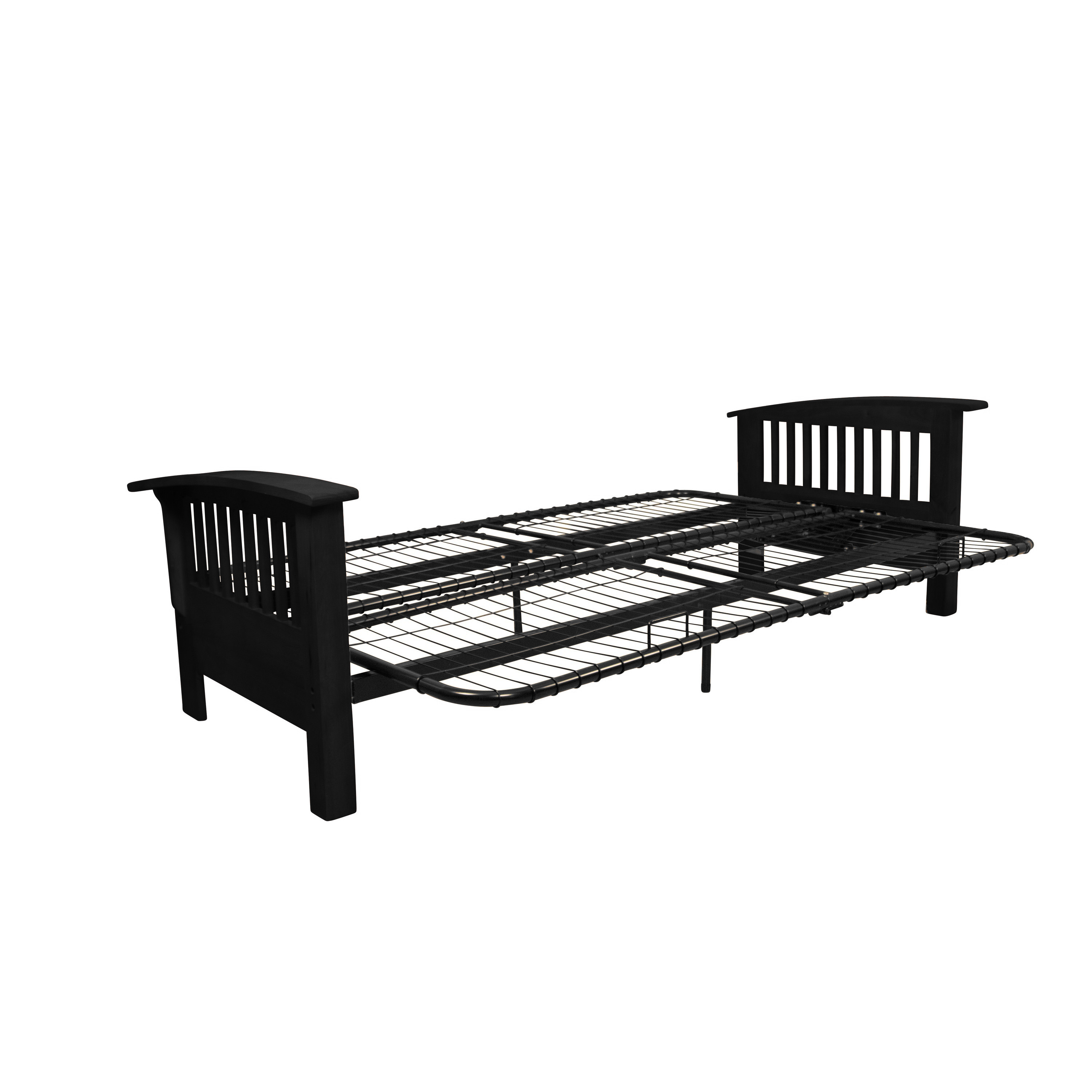 Morris Mission Style Futon Sofa Sleeper Bed Frame Queen Size Black Arms
