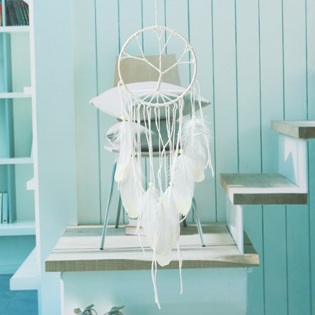 Grtsunsea Glow in the Dark Handmade Dream Catcher with White Feathers Car Wall Hanging Decor Ornament