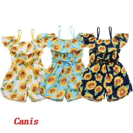 Sweet Toddler Baby Girl Clothes Sunflower Romper Jumpsuit Overall Casual -