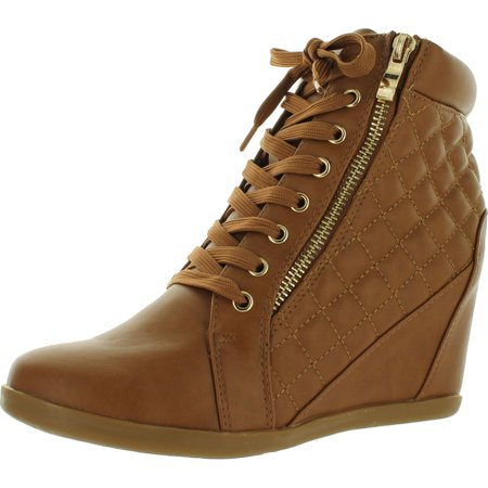 Forever Link Womens Fashion Gladys-25 Leather PU Lace Up Quilted Ankle High Wedge