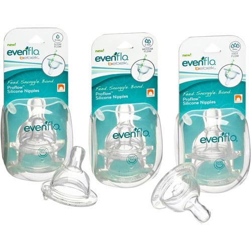Evenflo Bebek Baby Bottle Nipple, Medium Flow, 2-Pack, BPA-Free