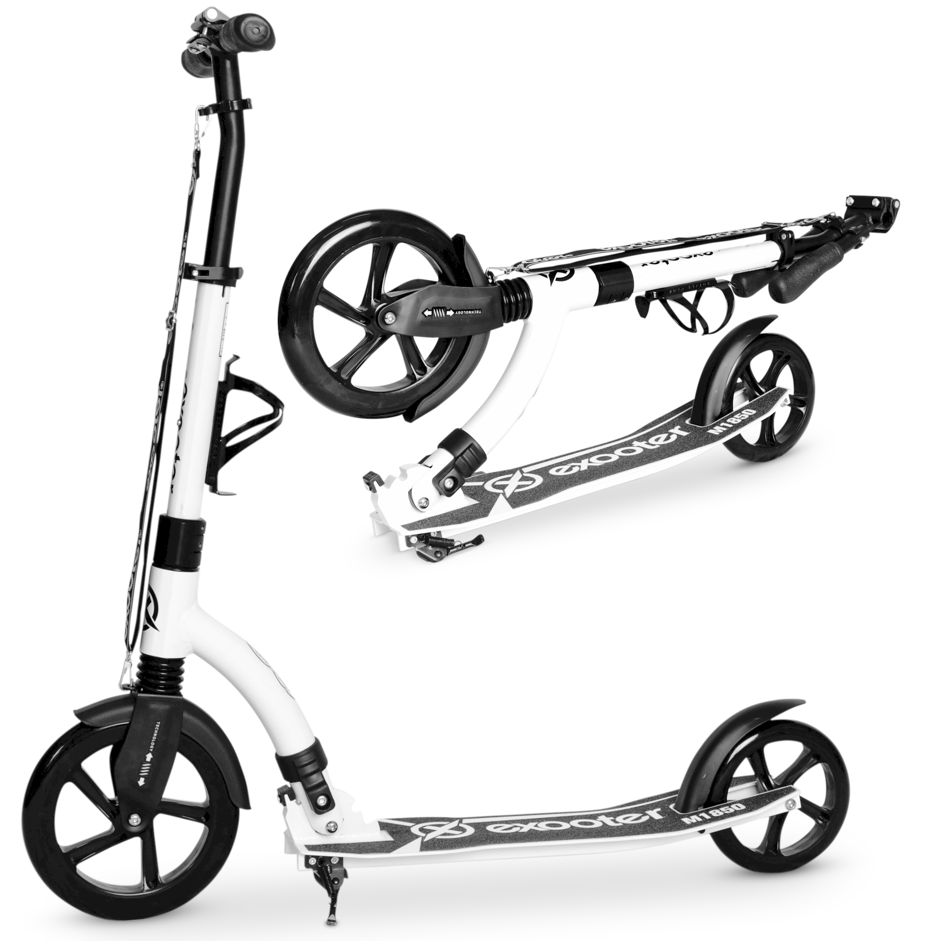 EXOOTER M1850WB 6XL Adult Kick Scooter With Front Shocks And 240mm/180mm Black Wheels In White Finish.