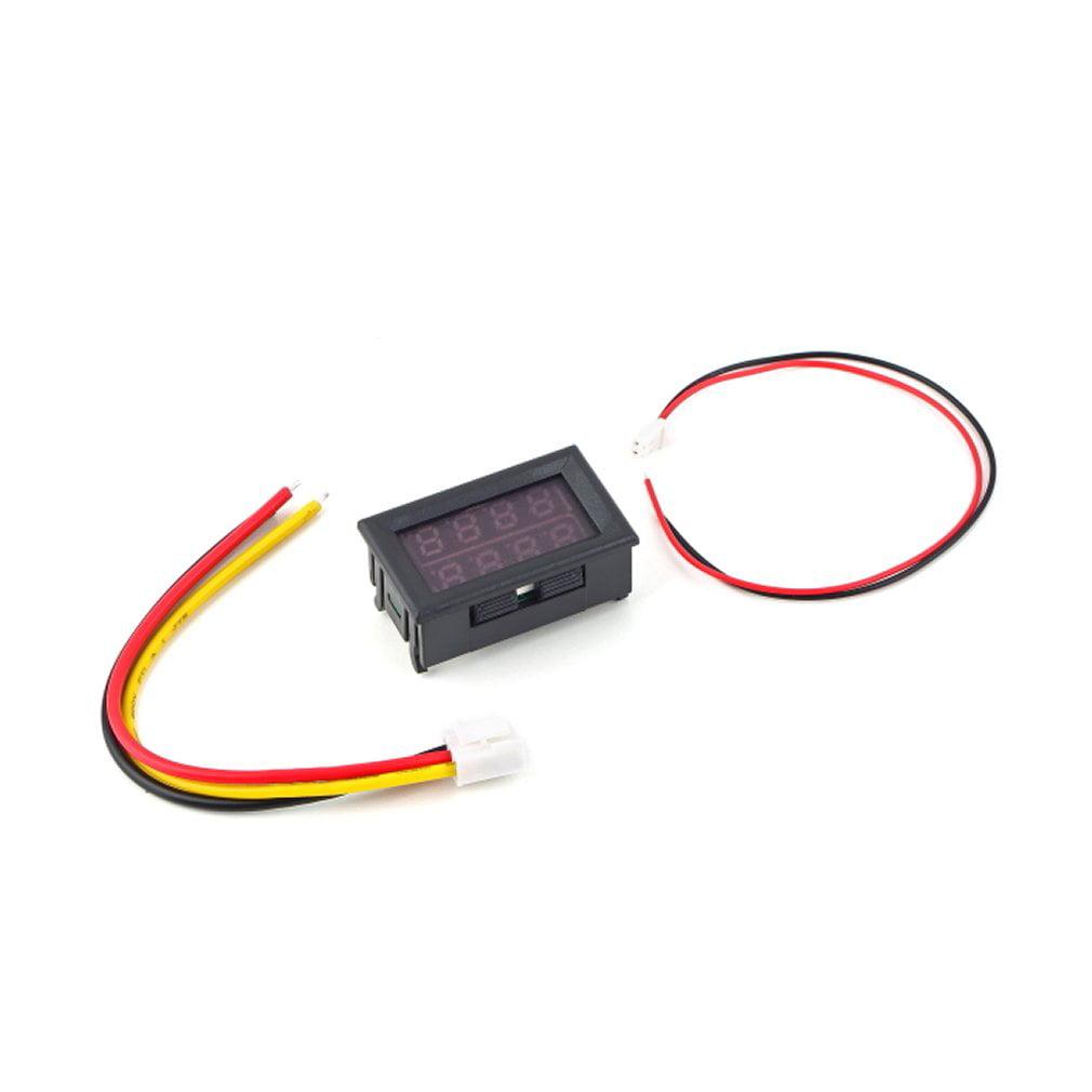 Led Digital Volt Amp 2 In 1 Panel Meter Voltmeter Ammeter 100v 10a Wiring Blue Red