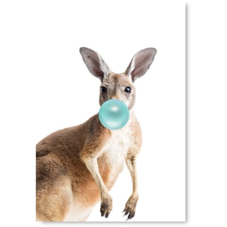 Awkward Styles Kangaroo with Bubble Gum Poster Gift Kangaroo Wall Art Collection Art Lovers Gifts Kangaroo Blow Blue Bubble Gum Prints Animal Decor Bubble Gum Cute Artwork for Room Decor Ideas
