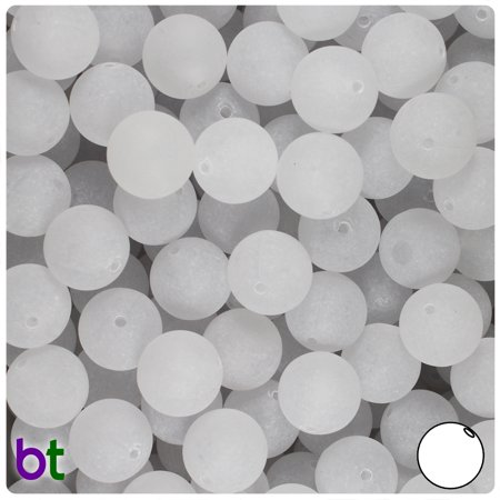BeadTin Ice Frosted 12mm Round Plastic Beads (60pcs)](Plastic Ice Tubs)