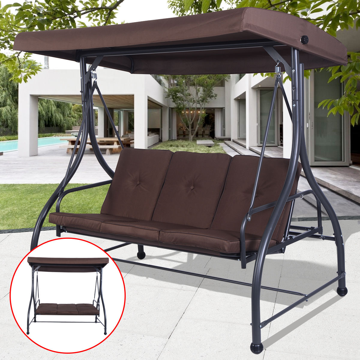 Costway Converting Outdoor Swing Canopy Hammock 3 Seats Patio Deck Furniture Brown by Costway