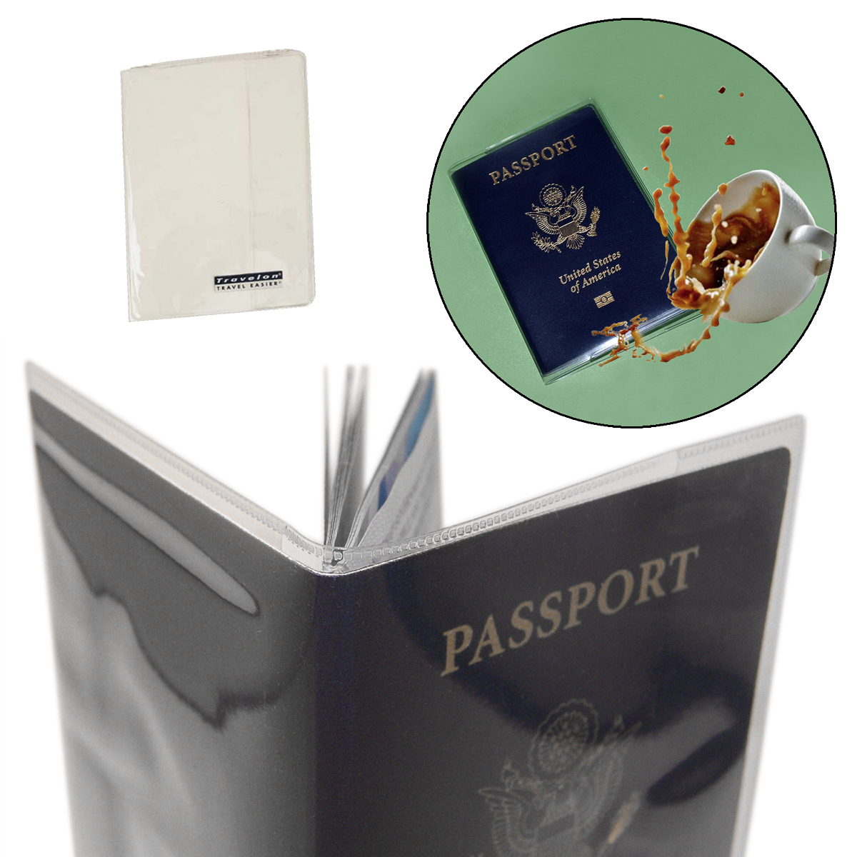 2 Passport Covers Clear PVC Plastic Document Holder Protector Case
