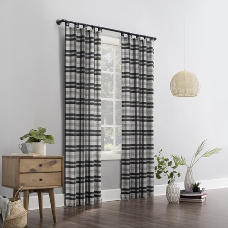 Mainstays Plaid Tab Top Curtain Panel Tab Top Window Curtain