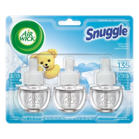 Three Wick Glass - Air Wick Scented Oil 3 Refills, Snuggle Fresh Linen, (3X0.67oz), Air Freshener