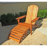 Pemberly Row Outdoor Adirondack Chair with Footrest