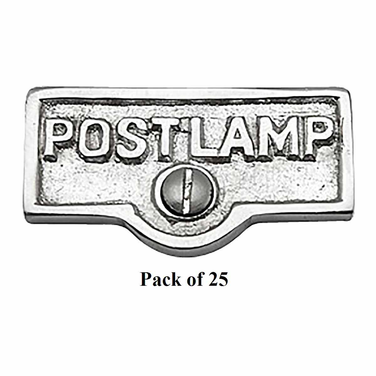 25 Switch Plate Tags POST LAMP Name Signs Labels Chrome B...