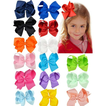 Coxeer 15Pcs Baby Hair Bows Cute Lovely Ribbon Bow Clip Hair Bow Set Perfect Birthday Gift for Kids Baby Girls](Halloween Fall Hair Bows)