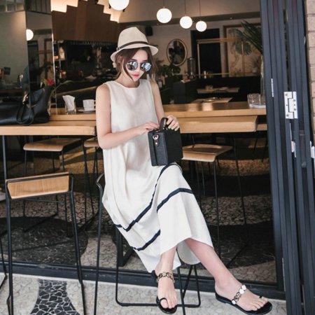 Women Loose Printing Milk Silk Stripes Sleeveless Dress white M ()