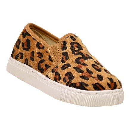 b66a0a2d2fc Anne Marie - Anne Marie Girls Tan Brown Leopard Slip-On Laceless ...