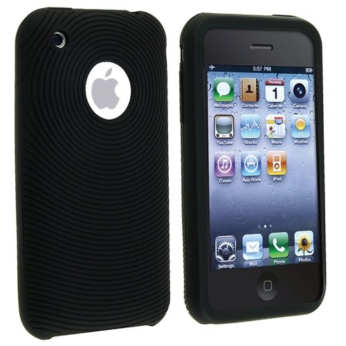 Silicone Skin Case for iPhone 3G / 3GS - Circle Black
