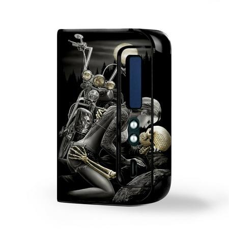 Skin Decal Vinyl Wrap for Smok Osub King 220W Vape Kit skins stickers cover/ Biker skeleton full moon - Item For Skeleton King