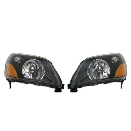03-05 Honda Pilot Smoke Housing Headlight Set- Black Left Right Replacement 2008 Honda Pilot Headlight