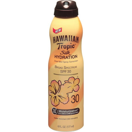 Hawaiian Tropic Silk Hydration Clear Mist Spray Sunscreen Broad Spectrum SPF 30 - 6 Ounces