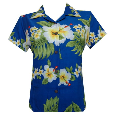 hawaiian shirts10a women hibiscus flower aloha beach top blouse casual - Hawaiian Womens Clothes