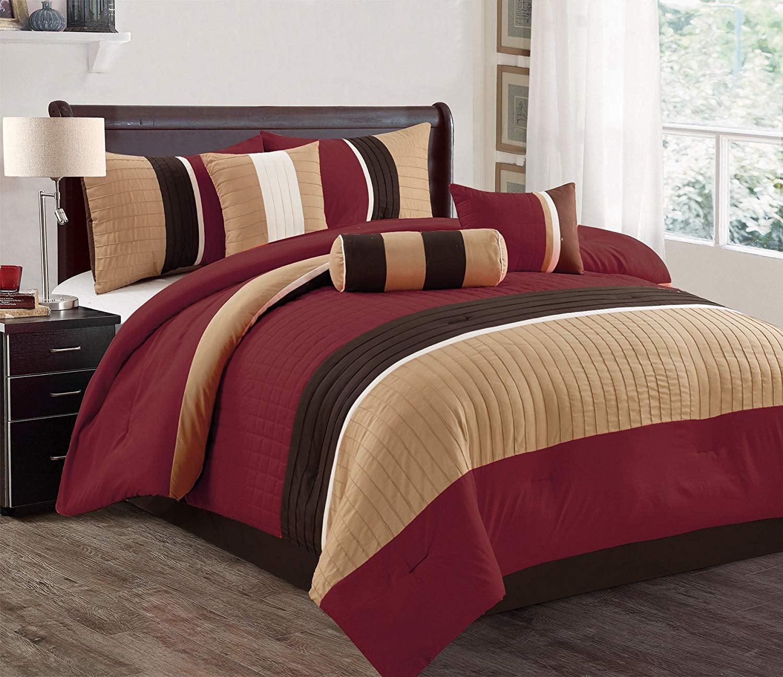hgmart bedding comforter set bed in a bag - 7 piece luxury