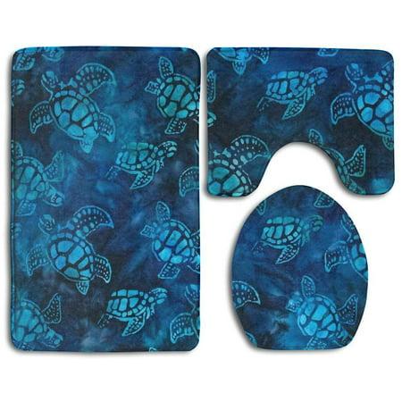GOHAO Watercolor Blue Sea Turtle 3 Piece Bathroom Rugs Set Bath Rug Contour Mat and Toilet Lid Cover ()
