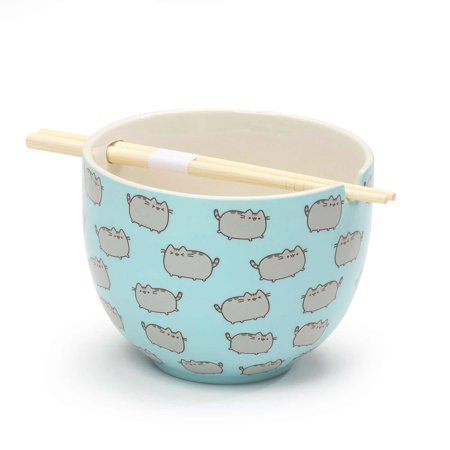 "Nambe Heart Bowl (Pusheen by Our Name is Mud ""Rice Bowl with Chopsticks"" Stoneware Bowl )"