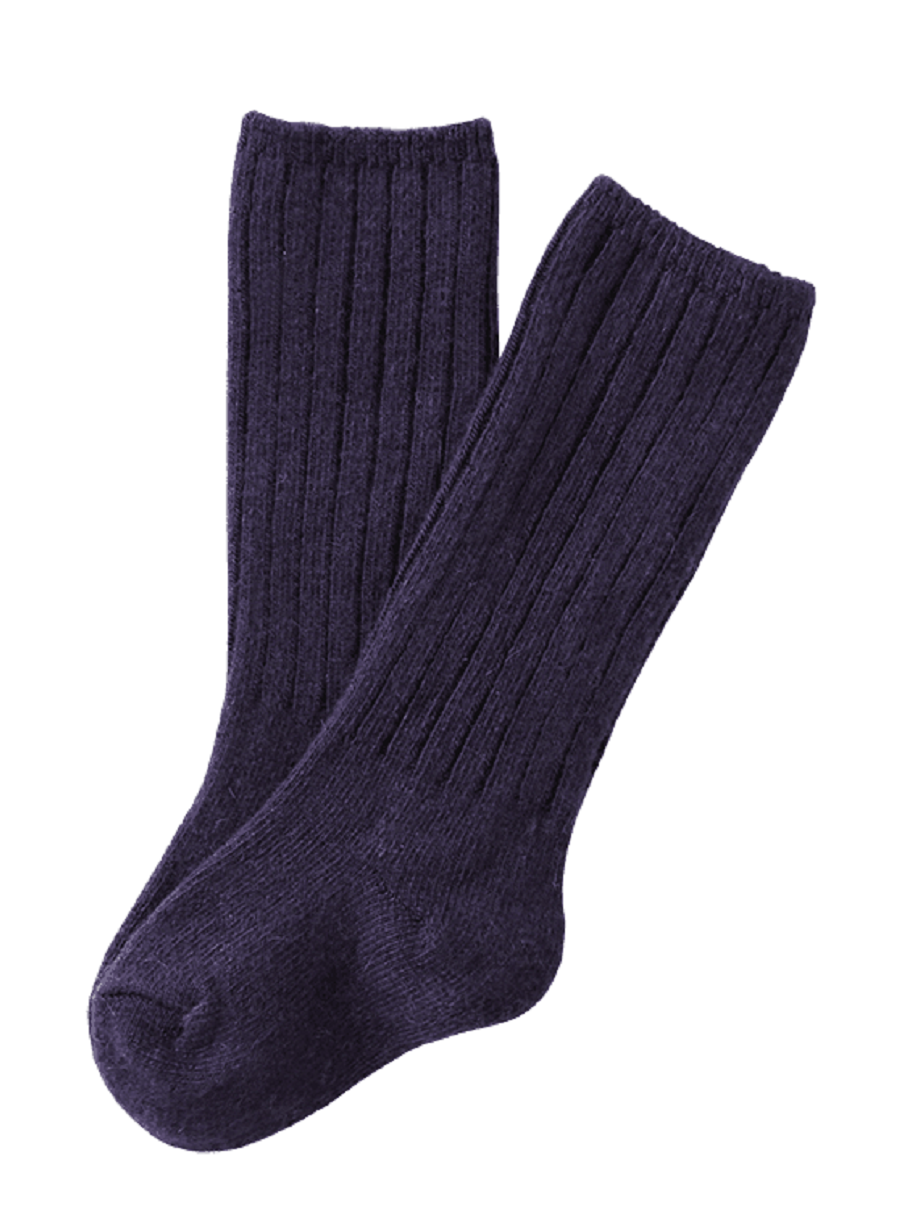 Lian Style Unisex Baby Children 2 Pairs Knee-high Wool Boot Blend Boot Socks Size 2-4Y( Navy)