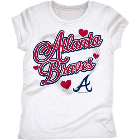 MLB Atlanta Braves Girls Short Sleeve White Graphic Tee