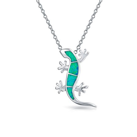 Plated Gecko - Synthetic Blue Opal Inlay Gecko Lizard Pendant Rhodium Plated Necklace 18 Inches