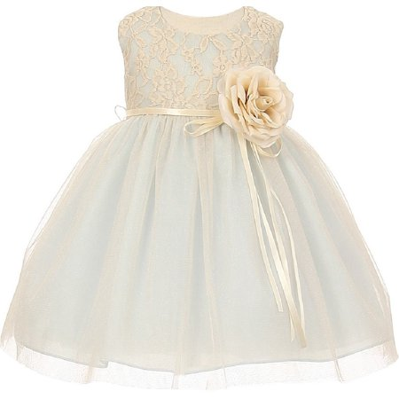 Two Tone Lace Ribbon Baby Little Flower Girls Dresses Pink S (Baby Size S-XL) (Pink Little Girl Dresses)