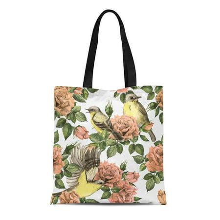 ASHLEIGH Canvas Tote Bag Secret Garden Pink Roses Flowers and Birds Floral Pastel Durable Reusable Shopping Shoulder Grocery Bag