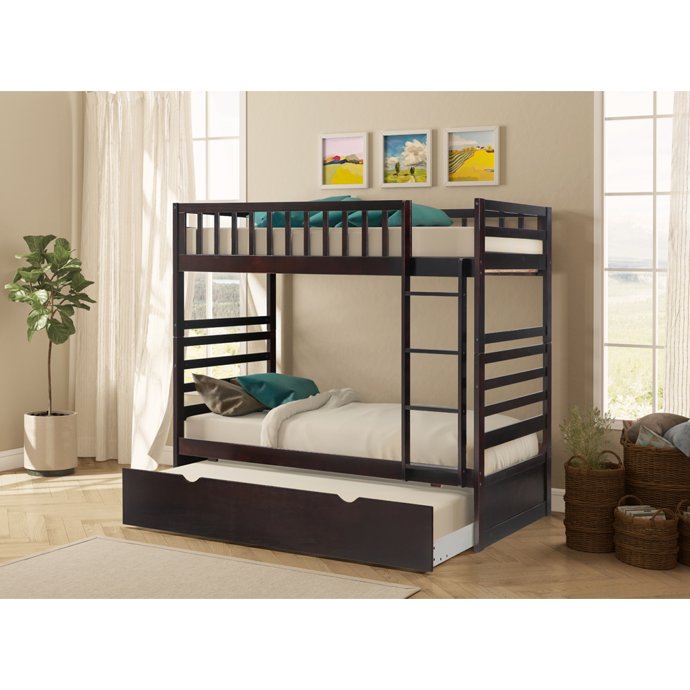 Merax Twin over Twin Solid Wood Bunk Bed with Trundle(Espresso)