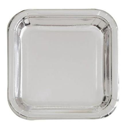 Square Paper Plates, 7 in, Silver Foil, 8ct