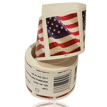 - U.S. Flag 1 roll of 100 USPS Forever First Class Postage Stamps Billowing Stars & Stripes Celebrating Patriotism