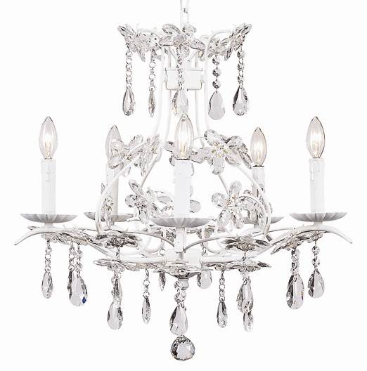 5 Arm Chandelier - Cinderella - White