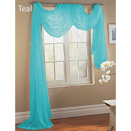 - 1 PC SOLID AQUA TURQUOISE Hotel High Quality Elegant Window-Sheer Scarf Valance swag topper (37