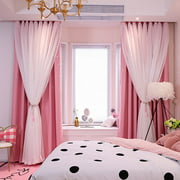 Star Curtains Stars Blackout Curtains for Kids Girls Bedroom Living Room Colorful Double Layer Star Cut Out Stripe Window Curtains, 1 Panel