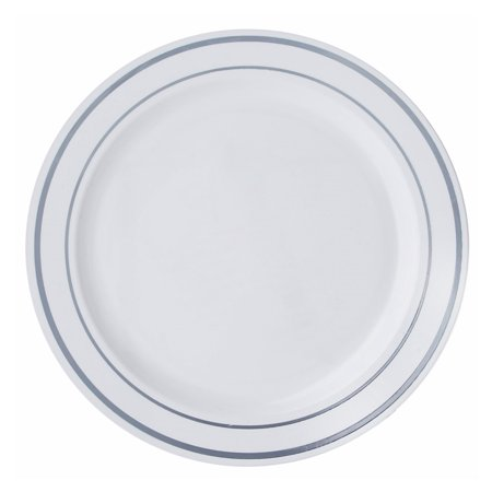 BalsaCircle 10 pcs Disposable Plastic Round Plates with Trim for Wedding Reception Party Buffet Catering Tableware
