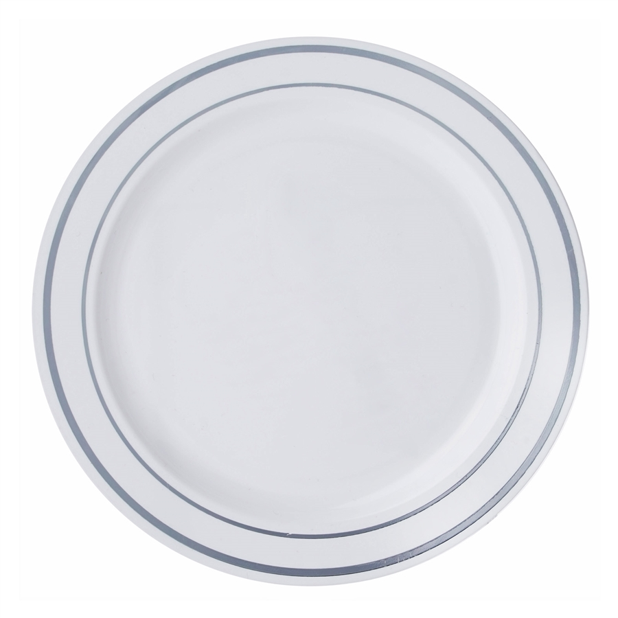 BalsaCircle 10 pcs Disposable Plastic Round Plates with Trim for Wedding Reception Party Buffet Catering Tableware  sc 1 st  Walmart & BalsaCircle 10 pcs Disposable Plastic Round Plates with Trim for ...