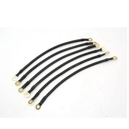 6pcs Black 24cm Length Battery Inverter Wire Power