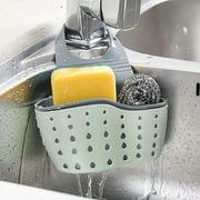 EEEkit Kitchen Hanging Sponge Holder, Adjustable Rubber Sink Caddy Organizer Dishwashing Liquid Drainer Brush Rack, Draining Basket, for Scrubber Dish Brush Kitchen Accessories Organizer